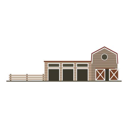 Farm garage isolated image. Flat building Vector Illustration