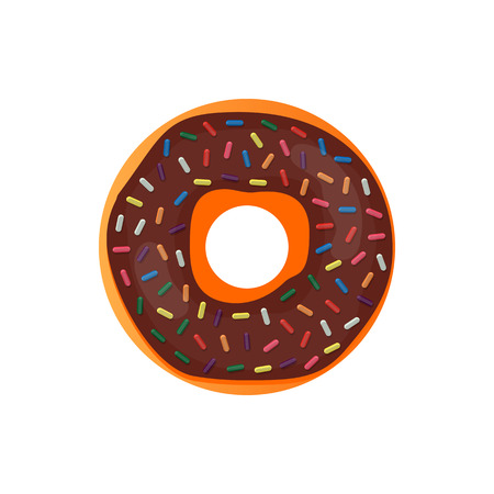 Donut delicious with sprinkles isolated on white background. Vector doughnut icon.