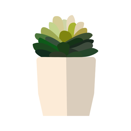 Green house plant in pot. Leaf flower flat. Vector.