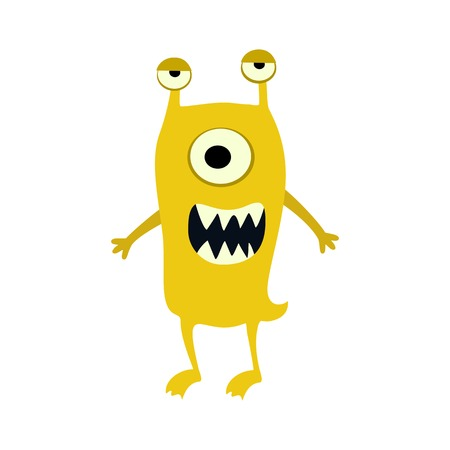 Cartoon flat yellow monsters big icon. Colorful kid toy cute monster.