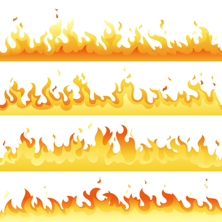 Fire Flame backdrop background set. Horizontal bonfire template for banner, web or brochure. Vector explosion decoration