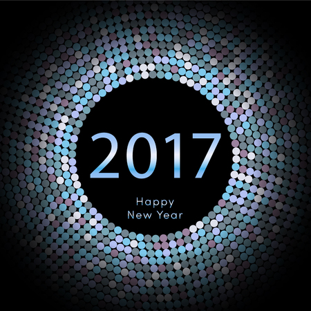 Happy New Year 2017 background. Calendar decoration colorful element. Greeting blue card. Template for your design. Vector illustration eps10