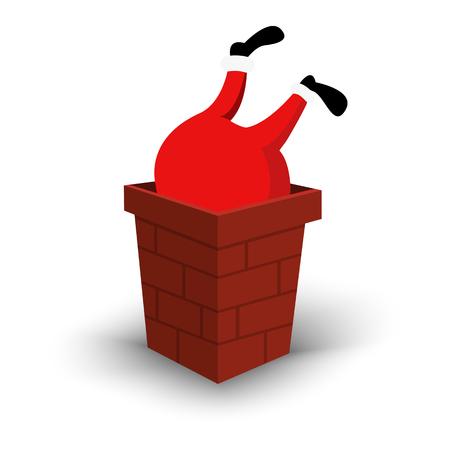Christmas Santa Claus character upside down in chimney. Cartoon man in festive red costume Santa Claus. Vector xmas illustration eps10 Illustration