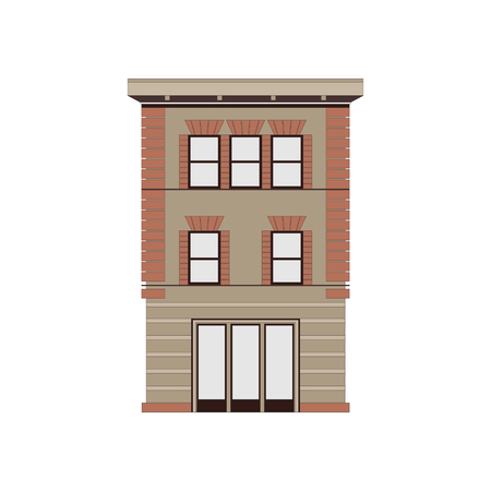 Beautiful detailed cityscape collection with townhouses. Small town street with victorian building facades. Template for web, graphic, game and motion design. Graphic illustration