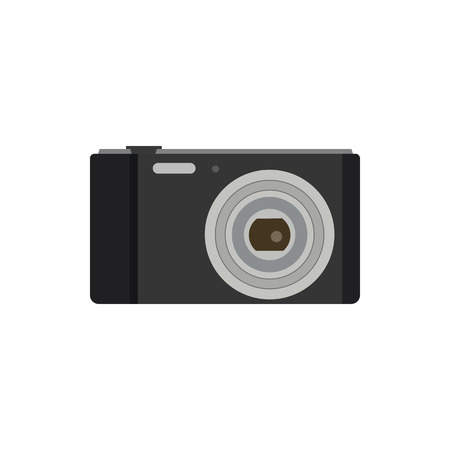 Old photo camera flat icon symbol. Illustration