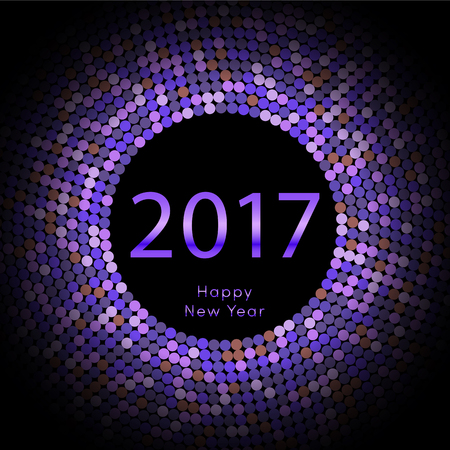 Happy New Year 2017 background. Violet greeting card. Vector illustration eps10