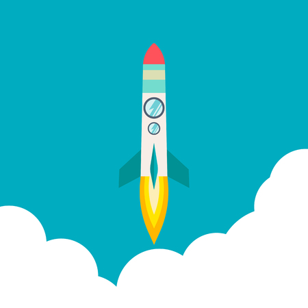 Four poster of rocket ship in a flat style. Space travel to the cosmos. Project start up and development process. Innovation product for creative idea. Graphic illustration with flying cartoon rockets. Stock Photo