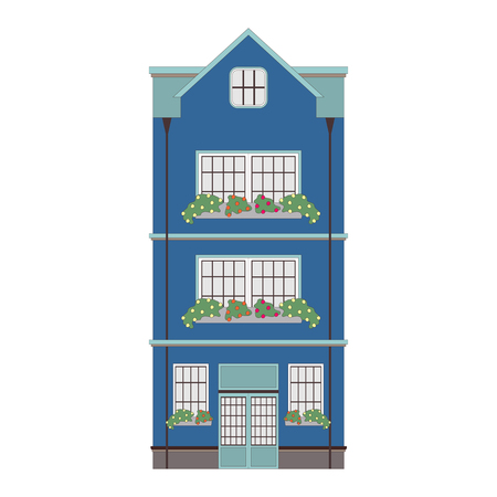 Beautiful detailed cityscape collection with townhouses. Small town street with victorian building facades. Template for web, graphic, game and motion design. Vector illustration EPS10