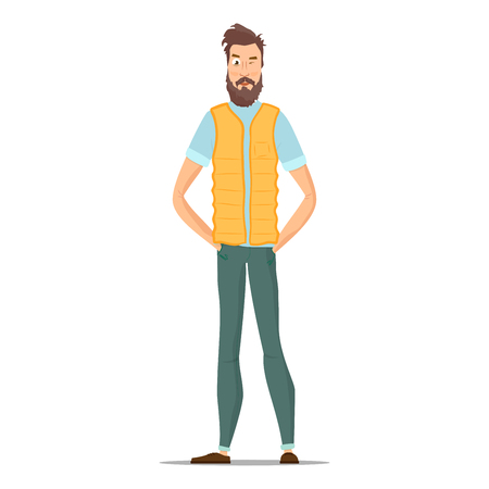 Man with brown hair, beard and mustache, wearing a blue shirt, yellow vest, green pants and brown shoes. Funny hipster isolated on white. Character young people in different casual clothes. Vector Illustration