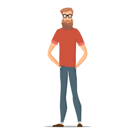 Man in glasses with brown hair, beard and mustache, wearing a red shirt, blue pants and brown shoes. Funny hipster isolated on white. Character young people in different casual clothes. Vector