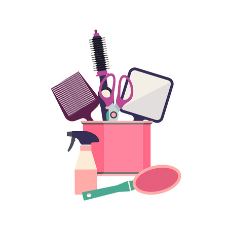 Professional hairdresser tools. Barber fashion objects set. Hairstyle haircut icons design salon. Vector illustration hairdresser equipment Illustration
