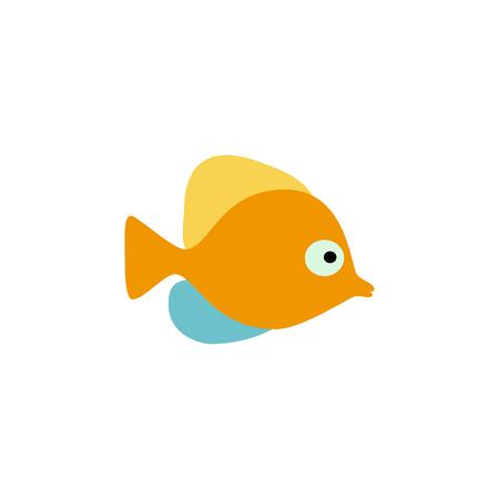 Orange fish vector illustration icon. Aquarium fishes flat style isolated on white background. Fish icons isolated. Tropical fish, sea fish, aquarium fish. Sea color flat design fish