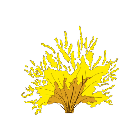 Yellow bushes in cartoon style for decoration on your design. Plants symbol for app game. Vector eps10