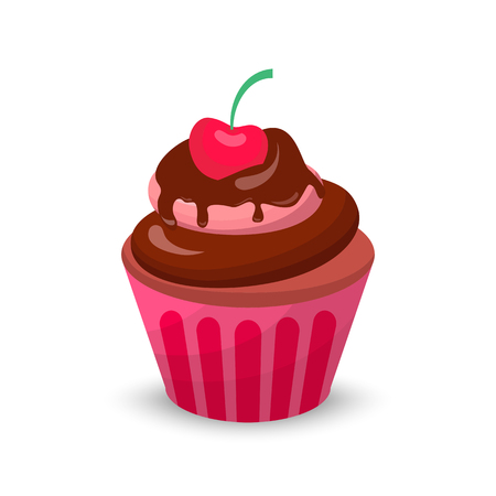 Sweet food chocolate cake. Creamy cupcake set isolated on white. Bakery cupcake with cherry. Graphic illustration candy concept Stock Photo