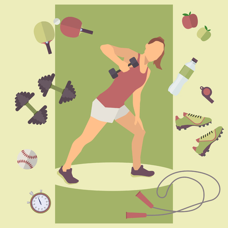 health and fitness: Fitness concept with training woman infographic. Graphic illustration