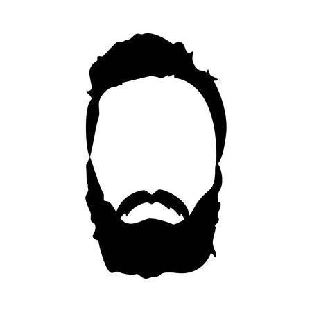 Hipster detailed hat and beards. Fashion bearded man silhouette. Black beard isolated on white background. Graphic illustration
