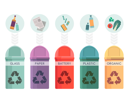 Colorful collection of garbage bins. Recycle containers set for sorted waste glass, paper, battery, plastic and organic. Five different trash can. Graphic illustration