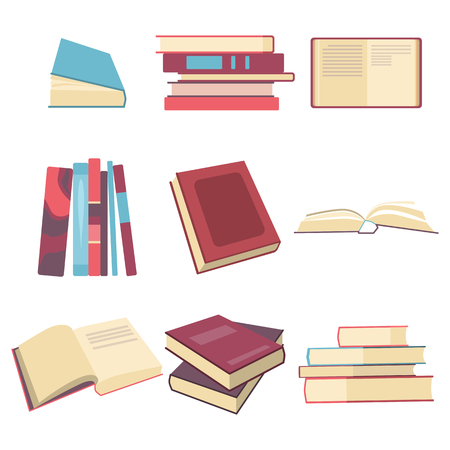 Books set in flat design style, Graphic illustration