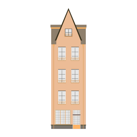 real estate house: Beautiful detailed cityscape collection with townhouses. Small town street with victorian building facades. Template for web, graphic, game and motion design. Graphic illustration