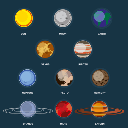 Collection of planets on dark background. Outer space with elements of the galaxy. Set planets of the solar system. 3d icons planet in flat cartoon style. Graphic illustration
