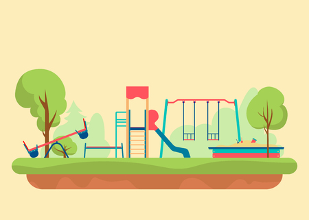 Kids playground flat style. Set of design elements to create urban builder background, Graphic illustration