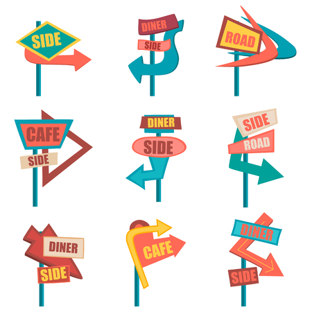 Retro road signs. Vintage billboard set. Graphic illustration