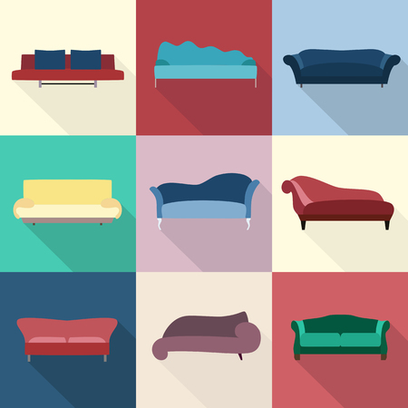 Modern luxury flat sofas and couches furniture icons set for living room. Graphic illustration