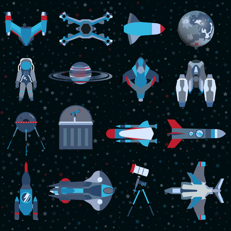 Spacecrafts flat icons equipment set. Cosmonaut space suit symbol spaceship collection. Graphic illustration