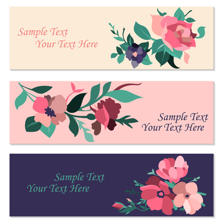 Set of invitation cards with flowers. Graphic illustration Stock Photo