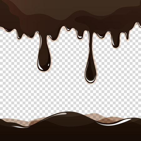 Seamless flowing melted chocolate dripping isolated on transparent background. Graphic illustration