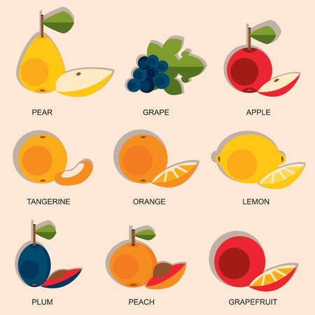 Set of colorful cartoon fruit icons: apple, pear, orange, peach, plum, grapes, lemon. Graphic illustration isolated on white.