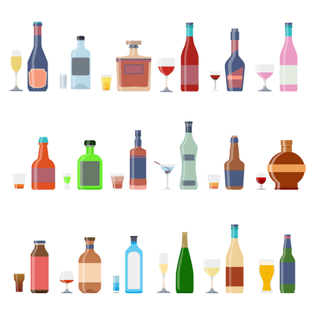 Alcohol bottles beverages with glasses. Alcohol whiskey cocktail bottle container set. Drink menu concept different beverages glasses. Graphic illustration icons Stock Photo