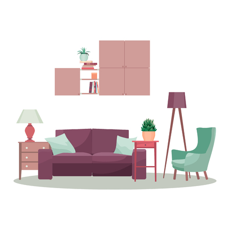 Modern 3d interior design concept living room. Graphic illustration Reklamní fotografie