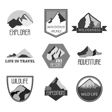 Mountain adventure and expedition badges collections. Travel emblems Graphic illustration Stock Photo
