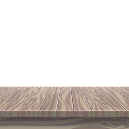 Empty wooden table for product placement or montage with focus to the table top, with isolated white background. Graphic illustration