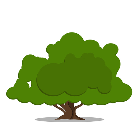 Stylized green tree in cartoon style isolated on white background. Graphic illustration