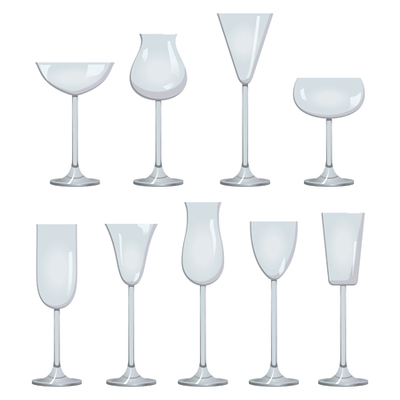Glasses set for wine. White sparkling and dessert wine collections. Graphic illustration Stock Photo