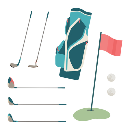 Golf club and ball in grass. Graphic illustration