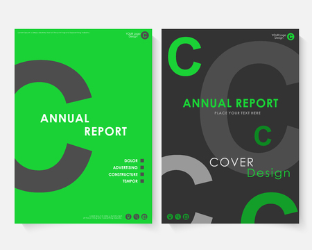Gray letter annual report cover design template vector. Brochure concept presentation website portfolio. Green layout leaflet template. Magazine business advertising set black poster A4 size illustration