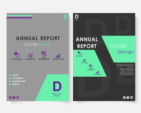 Green square annual report cover design template vector. Brochure concept presentation website portfolio. Black layout leaflet template. Magazine business advertising set. Poster A4 size image