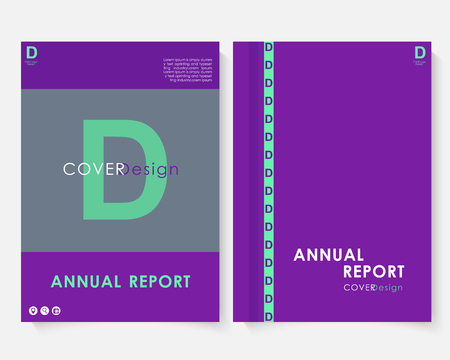 Violet marketing cover design template for annual report vector. Modern minimalist business powerpoint concept booklet. Flyer, leaflet magazine brochure with text. Corporate layout page A4 advertising illustration