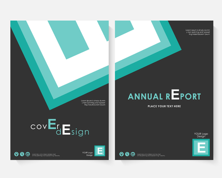 Green square annual report cover design template vector. Brochure concept presentation website portfolio. Black layout leaflet template. Magazine business advertising set Poster A4 size illustration