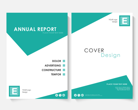 Green square annual report cover design template vector. Brochure concept presentation website portfolio. White layout leaflet template. Magazine business advertising set. Poster A4 size illustration