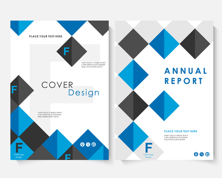 Blue square annual report cover design template vector. Brochure concept presentation website portfolio. White layout leaflet template. Magazine business advertising set. Poster A4 illustration