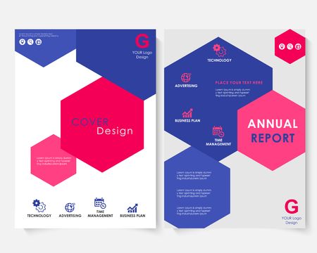 Color hexagon annual report cover design template vector. Brochure concept presentation website portfolio. White layout leaflet template. Magazine business advertising set. Poster A4 illustration Illustration