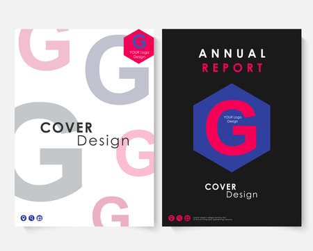 Annual report cover design template vector. Brochure concept presentation website portfolio. Colorfull layout leaflet template. Magazine business advertising set. Poster A4 size illustration