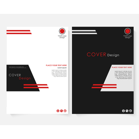 Black square annual report cover design template vector. Brochure concept presentation website portfolio. Red layout leaflet template. Magazine business advertising set Poster A4 size illustration