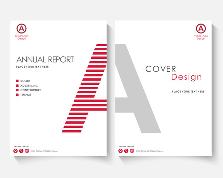 Red letter annual report cover design template vector. Brochure concept presentation website portfolio. White layout leaflet template. Magazine business advertising set Poster A4 size illustration