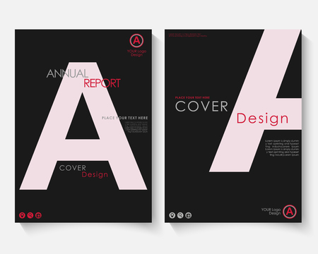 White letter annual report cover design template vector. Brochure concept presentation website portfolio. Black layout leaflet template. Magazine business advertising set Poster A4 size illustration