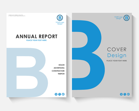 Blue letter annual report cover design template vector. Brochure concept presentation website portfolio. White layout leaflet template. Magazine business advertising set Poster A4 size illustration
